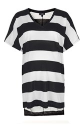 Topshop Maternity V Neck Striped Tee Monochrome