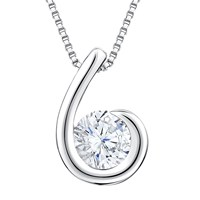 Jools By Jenny Brown Cubic Zirconia Hook Shaped Pendant Necklace Silver