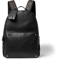 Valentino Embellished Grained Leather Backpack Black