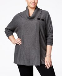 Jm Collection Plus Size Cowl Neck Poncho Only At Macy's Charcoal Heather
