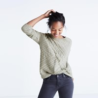 Madewell Cableknit Fringe Sweater Hthr Pebble