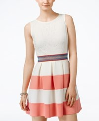 Speechless Juniors' Lace Colorblocked Fit And Flare Dress Coral Ivory