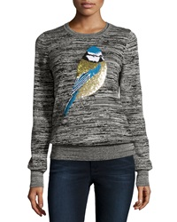 French Connection Sequin Sparrow Slub Knit Sweater Black Light Gray