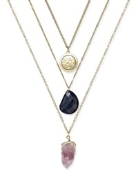 Macy's Gold Tone Metal Disc And Stone Layer Pendant Necklace Multi