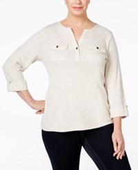 Charter Club Plus Size Utility Henley Top Only At Macy's Natural Oat Heather