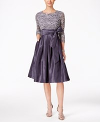 Jessica Howard Sequined Lace A Line Dress Steel