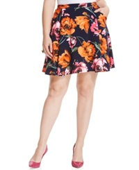 Soprano Plus Size Floral Print Pleated Flare Skirt Orange