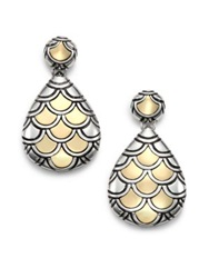 John Hardy Naga 18K Yellow Gold And Sterling Silver Teardrop Earrings Gold Silver