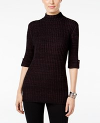Styleandco. Style Co. Marled Mock Neck Sweater Only At Macy's Dried Plum Black