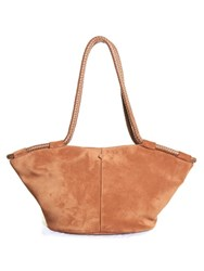 The Row Market Braided Handle Suede Tote Tan