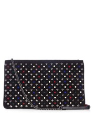 Christian Louboutin Loubiposh Spike Embellished Suede Clutch Black Multi