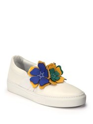 Lanvin Floral Leather Slip On Sneakers