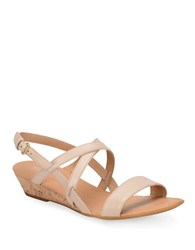 Born Porta Leather Wedge Sandals Natural