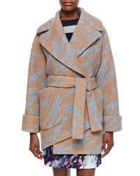 Carven Long Sleeve Oversized Printed Wrap Coat Camel Gris