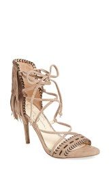 Jessica Simpson Women's 'Mareya' Fringe Ankle Tie Sandal Warm Taupe Suede