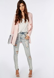 Missguided Edie High Waisted Multi Rip Skinny Jeans Blue Acid Wash Blue