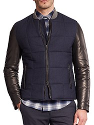 Vince Leather Sleeve Quilted Jacket Coastal Blue