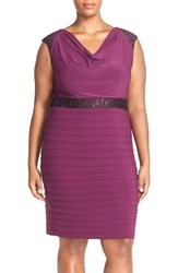 Plus Size Women's Adrianna Papell Cowl Neck Lace And Shutter Pleat Sheath Dress