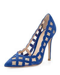 Gianvito Rossi Suede And Tulle Cutout Pump Blue Royal Blue