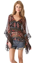Twelfth St. By Cynthia Vincent Draped Caftan Blouse Tribal Diamonds