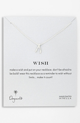 Dogeared 'Reminder Wish' Boxed Wishbone Pendant Necklace Sterling Silver