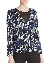 1.State Abstract Print Blouse Deep Teal Multi