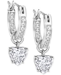 Swarovski Crystal Heart Dangle Hoop Earrings