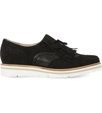 Dune Gravite Fringed Suede Brogues Black Metallic