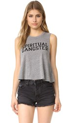 Spiritual Gangster Sg Varsity Crop Tank Heather Grey