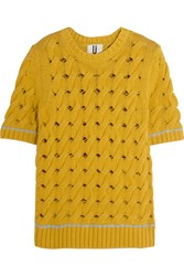 Topshop Unique Cookham Open Knit Cotton Top Marigold