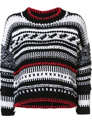 Spencer Vladimir Multi Print Cable Knit Jumper White