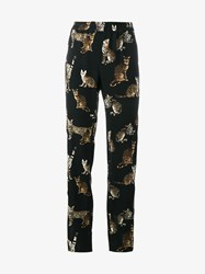 Dolce And Gabbana Cat Print Silk Pyjama Trousers Multi Coloured Denim