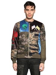 Diesel Patchwork Cotton Blend Bomber Jacket