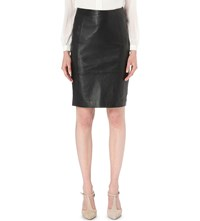 Reiss Avril Leather And Stretch Knit Panel Pencil Skirt Black
