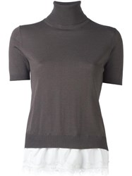 P.A.R.O.S.H. Lace Inset Knitted Top Grey