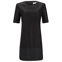 Finders Keepers Women's Simple Life Perforated Faux Leather T Shirt Dress Black