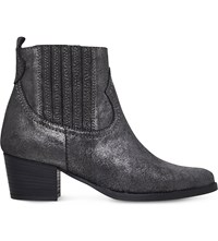 Carvela Strummer Metallic Leather Ankle Boots Gunmetal