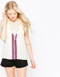 Kiss The Sky Casablanca Top With Embroidered Detail Cream