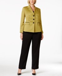 Le Suit Plus Size Three Button Contrast Jacket Pantsuit Citrine Black