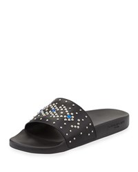 Givenchy Studded Rubber Slide Sandal Black Blue Black Blue
