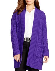 Lauren Ralph Lauren Plus Cable Knit Open Front Cardigan Purple