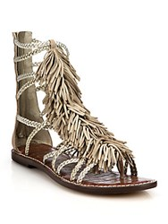 Sam Edelman Leather Fringe Hightop Sandals Classic Nude