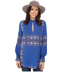 Free People Rayon Dobby Changing Times Printed Tunic True Blue Combo Women's Blouse