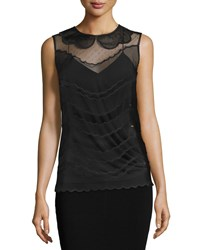 Red Valentino Sleeveless Scallop Detail Slim Fit Top Nero Women's