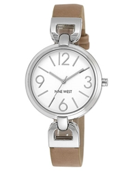 Nine West Ladies Silver Tone Round Watch With Tan Leather Strap