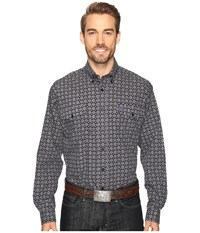 Cinch Long Sleeve Plain Weave Print Double Black Men's Clothing