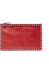Valentino The Rockstud Leather Pouch Red