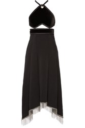 Alexander Wang Embellished Cutout Velour And Wool Maxi Dress Black