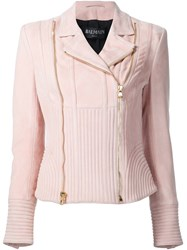 Balmain Ribbed Accent Biker Jacket Pink And Purple