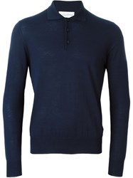 Ballantyne Longsleeved Polo Shirt Blue